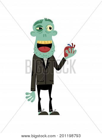 Male zombie with wedding ring character. Bridegroom zombie personage, undead monster wedding, zombie apocalypse vector illustration.
