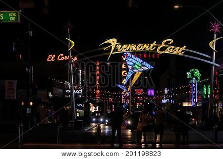 LAS VEGAS, USA--Night lights at the Freemont East District in Las Vegas, one of the must-not miss attractons. Photo taken in April 2017.