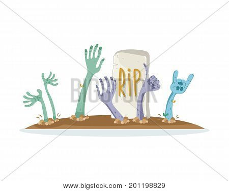 Undead monsters heads on cemetery sign in cartoon style. Zombie hands sticking out from ground, zombie apocalypse concept, walking dead vector illustration.
