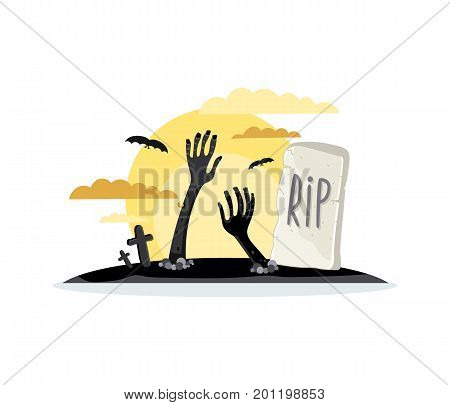 Walking dead hands sticking out from ground in cartoon style. Undead arises on cemetery, horror monster, zombie apocalypse vector illustration.
