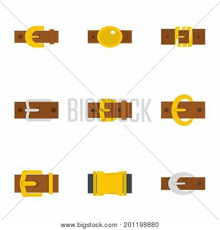 Trend belt buckle icon set. Flat set of 9 trend belt buckle vector icons for web isolated on white background