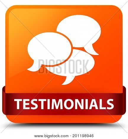 Testimonials (comments Icon) Orange Square Button Red Ribbon In Middle