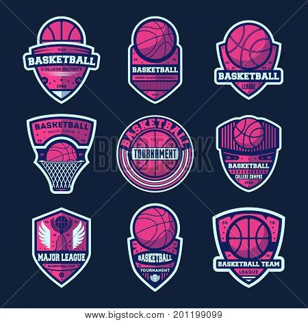 Basketball league isolated label set. Basketball tournament sign, college championship symbol, sport society icon, athletic camp logo. Basketball team badge collection vector illustration
