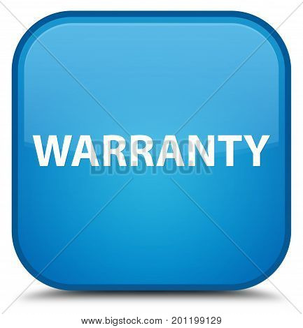 Warranty Special Cyan Blue Square Button