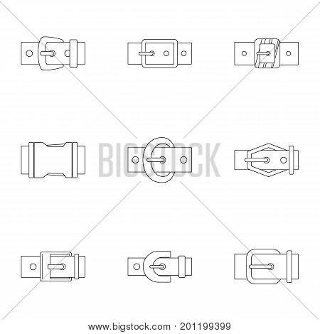 Elegance belt buckle icon set. Outline set of 9 elegance belt buckle vector icons for web isolated on white background