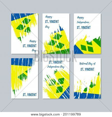 St. Vincent Patriotic Cards For National Day. Expressive Brush Stroke In National Flag Colors On Whi