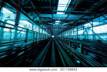 Train Moving On City Rail With Motion Blur