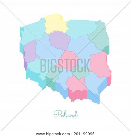 Poland Region Map: Colorful Isometric Top View. Detailed Map Of Poland Regions. Vector Illustration.
