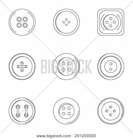 Modern clothes button icon set. Outline set of 9 modern clothes button vector icons for web isolated on white background