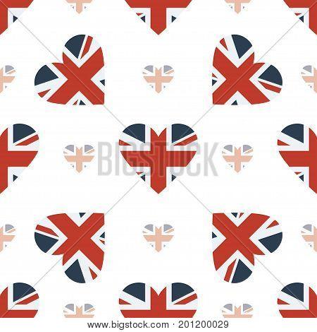United Kingdom Flag Patriotic Seamless Pattern. National Flag In The Shape Of Heart. Vector Illustra