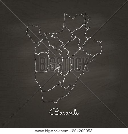 Burundi Region Map: Hand Drawn With White Chalk On School Blackboard Texture. Detailed Map Of Burund
