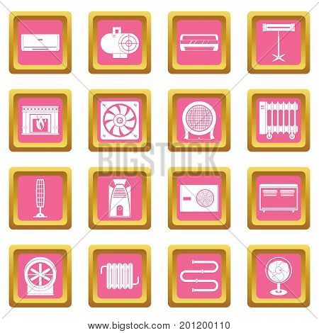 Heating cooling air icons set in pink color isolated vector illustration for web and any design
