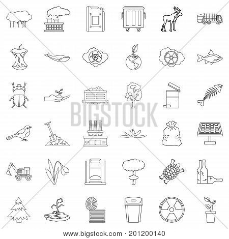 Polluting icons set. Outline style of 36 polluting vector icons for web isolated on white background