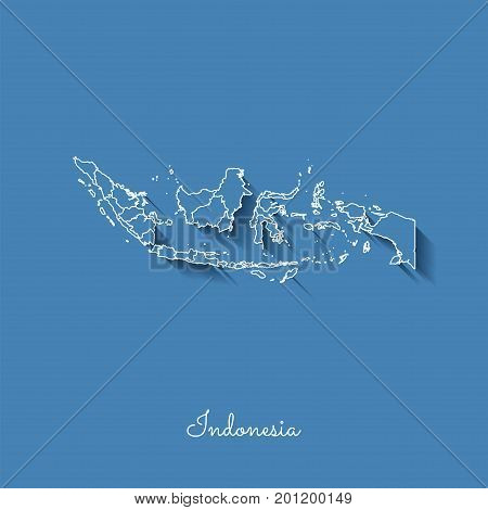 Indonesia Region Map: Blue With White Outline And Shadow On Blue Background. Detailed Map Of Indones