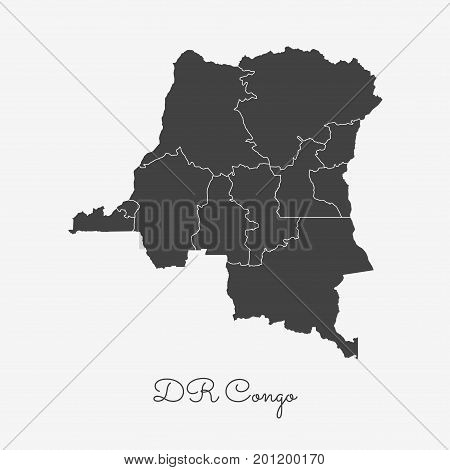 Dr Congo Region Map: Grey Outline On White Background. Detailed Map Of Dr Congo Regions. Vector Illu