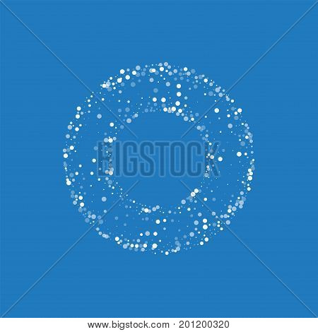 Random Falling White Dots. Bagel Shaped Frame With Random Falling White Dots On Blue Background. Vec