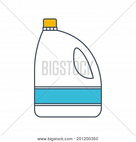 color blue and yellow sections silhouette of bleach clothes bottle vector illustration