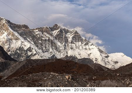 Beautiful Himalaya Mountains On A Cloudy Day. Lhotse Mountain South Face View From Everest Base Camp