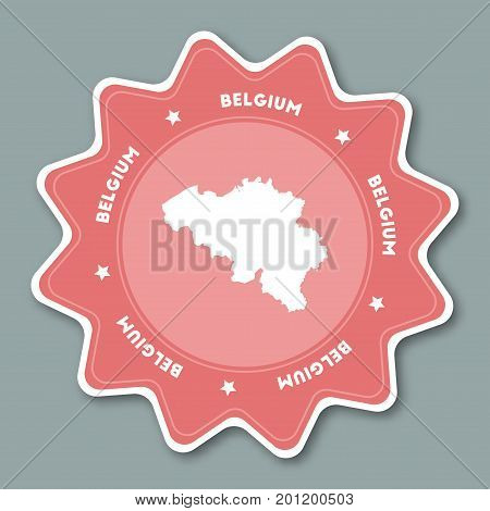 Belgium Map Sticker In Trendy Colors. Star Shaped Travel Sticker With Country Name And Map. Can Be U