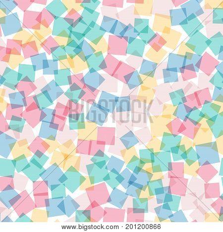 Abstract Squares Pattern. White Geometric Background. Beauteous Random Squares. Geometric Chaotic De