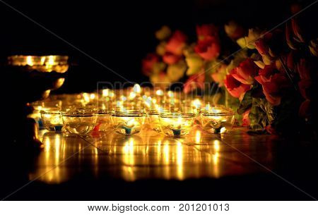 Candle lit thai culture in Asalha Puja day Magha Puja day Visakha Puja Day