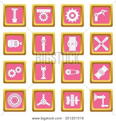 Techno mechanisms kit icons set in pink color isolated vector illustration for web and any design