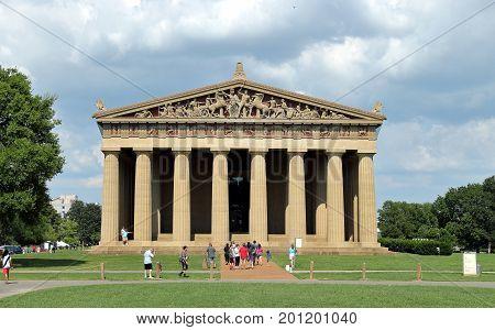 Nashville, Tennessee - August 21, 2017. Parthenon Replica at Centennial Park in Nashville Tennessee USA.