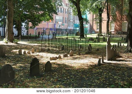 Boston, Massachusetts - August 16, 2017. Historic Granary Burying Ground in Boston, MA