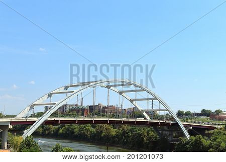 Korean Veterans Blvd Bridge across Cumberland River Nashville, Tennessee
