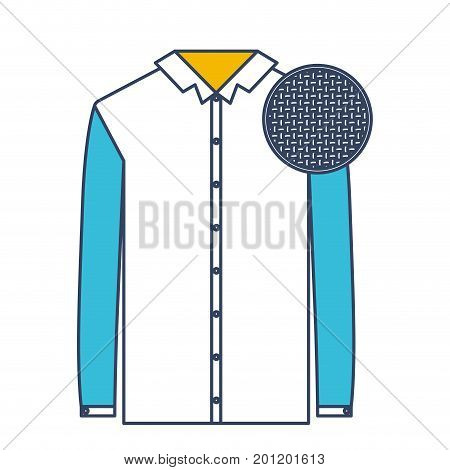 color blue and yellow sections silhouette of shirt long sleeve man and circle of macro textile pattern vector illustration