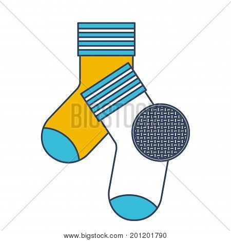 color blue and yellow sections silhouette of pair of socks and circle of macro textile pattern vector illustration