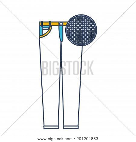 color blue and yellow sections silhouette of female pants and circle of macro textile pattern vector illustration