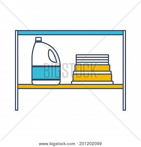 color blue and yellow sections silhouette of rack with bleach clothes bottle and folded towels vector illustration