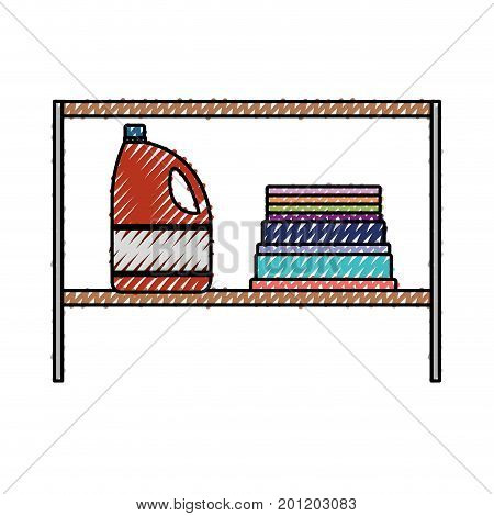 colored crayon silhouette of rack with bleach clothes bottle and folded towels vector illustration