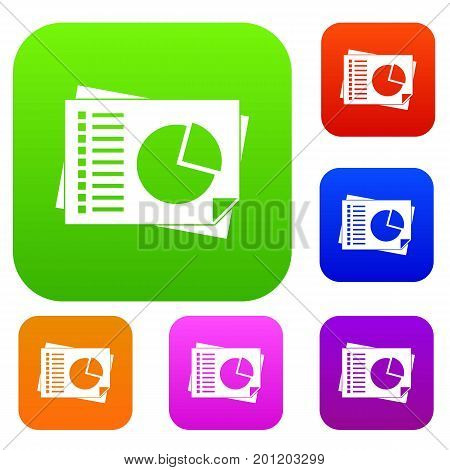 Sheets of paper with charts set icon in different colors isolated vector illustration. Premium collection