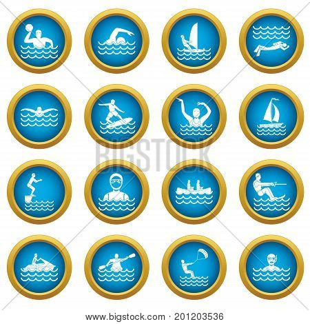 Water sport icons blue circle set isolated on white for digital marketing