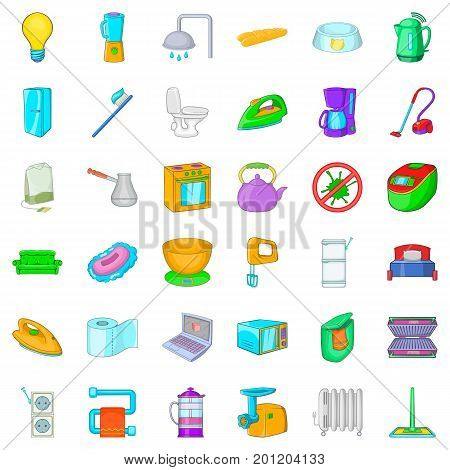 Home socket icons set. Cartoon style of 36 home socket vector icons for web isolated on white background