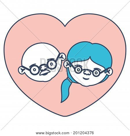 color sections silhouette of heart shape greeting card with caricature face of bald grandfather with glasses and grandmother with ponytail side hair vector illustration