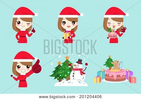 cartoon woman with christmas on the green background