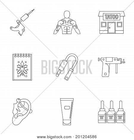 Tattoo salon accessory icon set. Outline set of 9 tattoo salon accessory vector icons for web isolated on white background