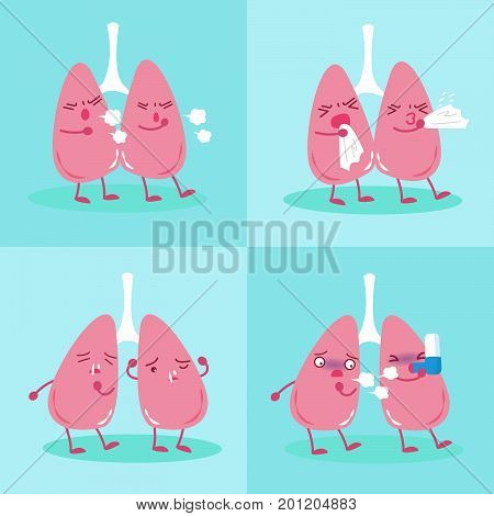 lung with health concept on the blue background