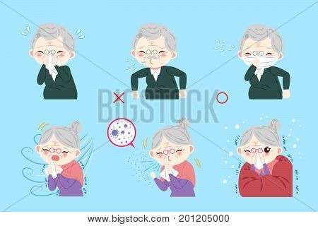old people with health concept on blue background