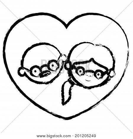 blurred thick contour of heart shape greeting card with caricature face of bald grandfather with glasses and grandmother with ponytail side hair vector illustration
