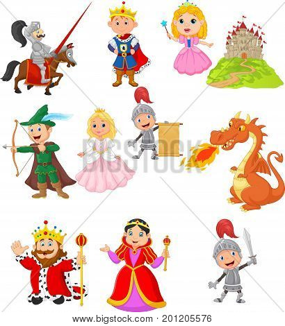 Vector illustration of Set of fairy tale medieval character