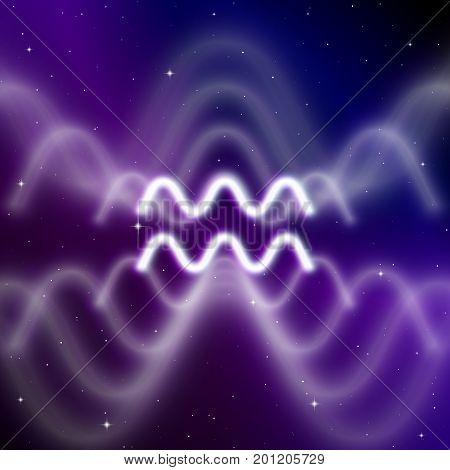 Astrology sign of Aquarius with mystic aura