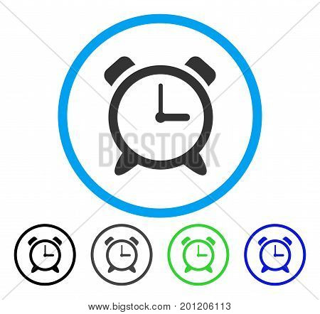 Alarm Clock rounded icon. Vector illustration style is a flat iconic symbol inside a circle, black, gray, blue, green versions. Designed for web and software interfaces.
