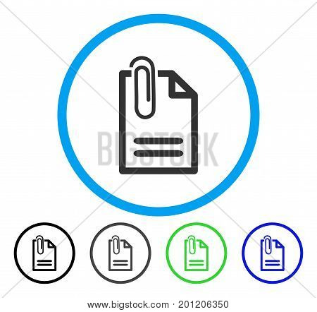 Attach Document rounded icon. Vector illustration style is a flat iconic symbol inside a circle, black, grey, blue, green versions. Designed for web and software interfaces.