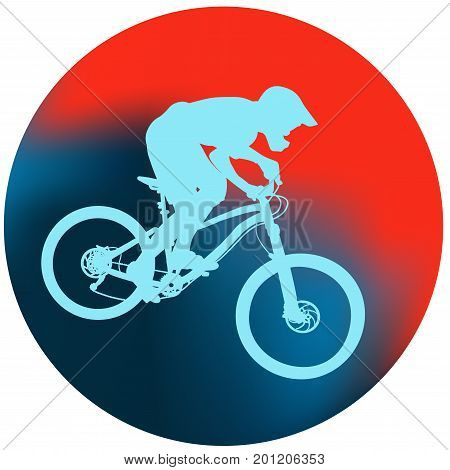 Blue silhouette of a cyclist on an abstract blue and red round background