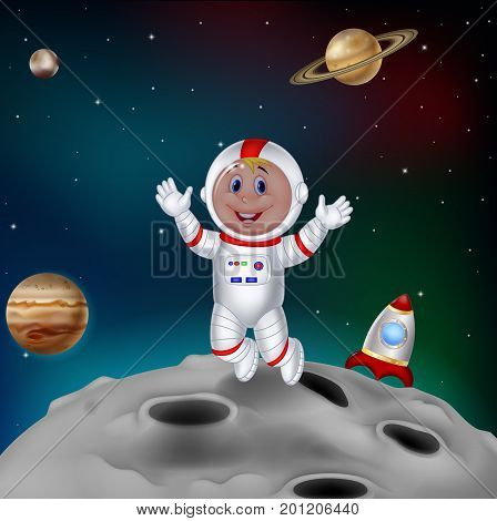 Vector illustration of Astronaut landing in outer space