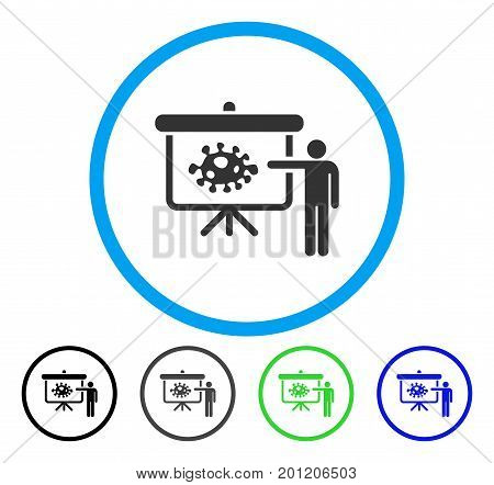 Bacteria Lecture rounded icon. Vector illustration style is a flat iconic symbol inside a circle, black, grey, blue, green versions. Designed for web and software interfaces.